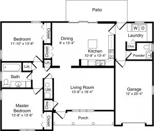Villa Floor Plan - 2 Bedroom