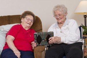 Grace residents with iPad