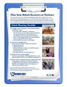 Download Wesbury's Rehab Recovery Checklist