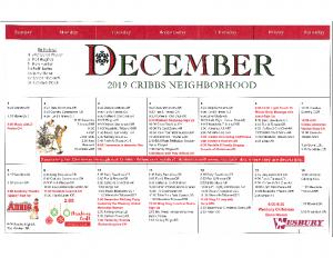 Cribbs Residential Center December Activity Calendar