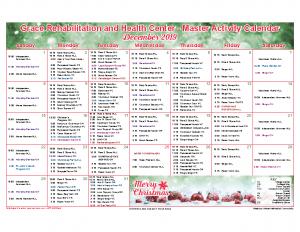 Grace Rehabilitation and Health Center December Activity Calendar