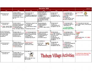 Thoburn Village December Activity Calendar