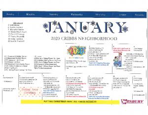 Cribbs Residential Center January Activity Calendar