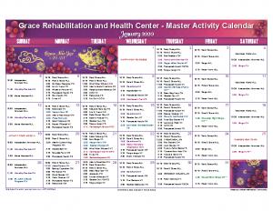 Grace Rehabilitation and Health Center January Activity Calendar