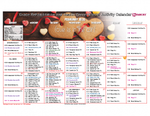 Grace Rehabilitation and Health Center February Activity Calendar