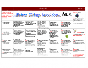 Thoburn Village February Activity Calendar