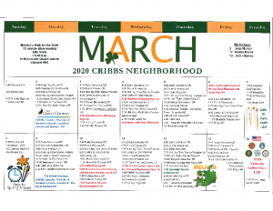 Cribbs Residential Center March Activity Calendar