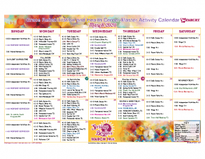 Grace Rehabilitation and Health Center March Activity Calendar