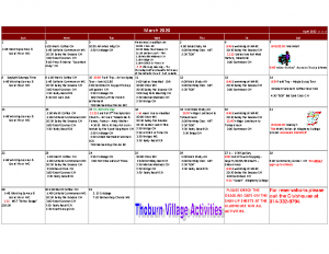 Thoburn Village March Activity Calendar
