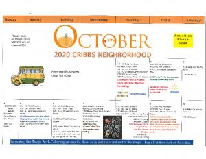 Cribbs Residential Center October Activity Calendar
