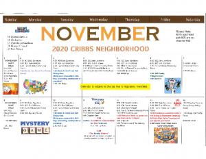 Cribbs Residential Center November Activity Calendar