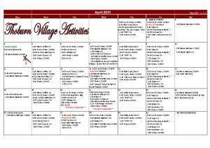 Thoburn Village April Activity Calendar