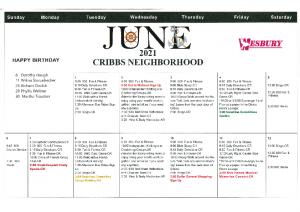 Cribbs Residential Center June Activity Calendar