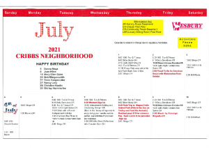 Cribbs Residential Center July Activity Calendar