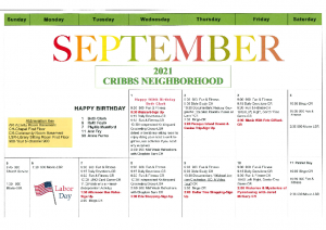 Cribbs Residential Center September Activity Calendar