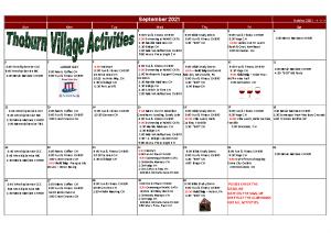 Thoburn Village September Activity Calendar