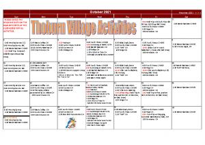 Thoburn Village October Activity Calendar